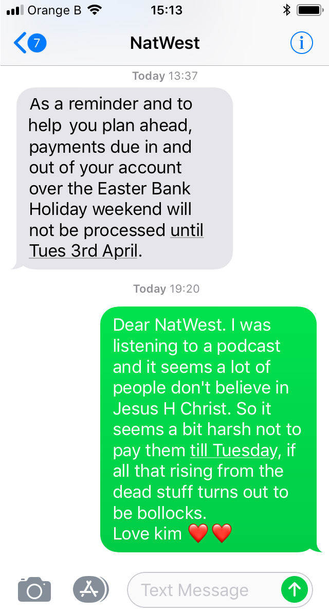 Easter Message to Natwest Bank