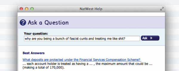 Natwest Bank answer my question