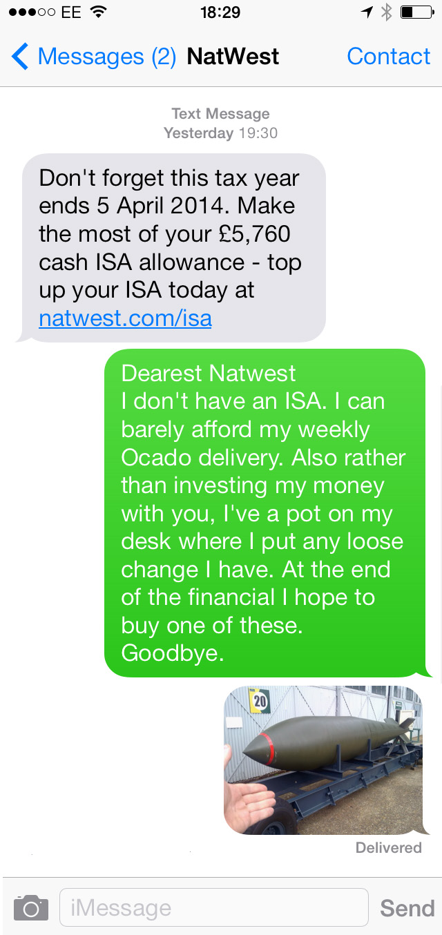 text to bank about a bomb